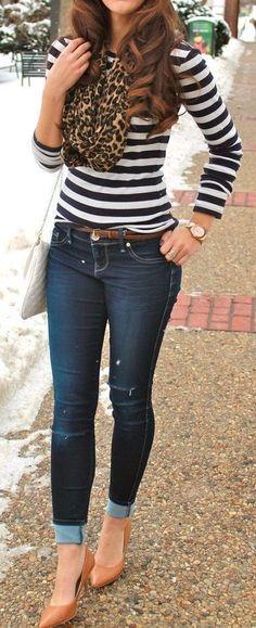 Stripe Top, Skinny Jeans, Leopard Scarf & Pumps ❤︎ #street #style