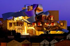 The distinctive Frank Gehry-designed (you guessed it) Hotel Marques de Riscal in Elciego, Spain.