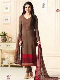 Brown Silk Embroidery Salwar Kameez Brown Silk Embroidery Salwar Kameez Party Silk Chudidar Salwar Kameez with Embroidery Design. Semi Stitch Can be customised up to Size 45 Inch Accompanied with Silk Bottom & Nazmeen Dupatta. at Wholesale Latest Salwar Suits, Salwar Suits Online, Salwar Kameez Online, Designer Salwar Suits, Prachi Desai, Salwar Suits Party Wear, Ethnic Gown, Indian Ethnic, Silk Suit
