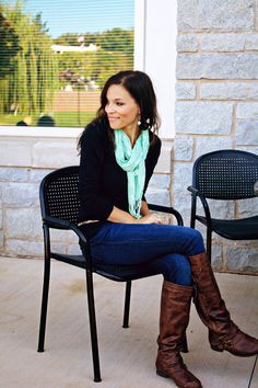 love the color pop with the scarf and the solid colors ~ Fall