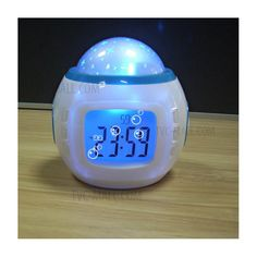 Starry Sky Music Colorful Projection Light Alarm Clock with Time/Temperature/Calendar Display - White-2