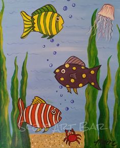 Fish Painting For Kids Collection - Painting Pictures For Kids, Art Drawings For Kids, Fish Drawings, Pictures To Paint, Art For Kids, Fish Drawing For Kids, Acrylic Painting For Kids, Painting Lessons, Art Lessons
