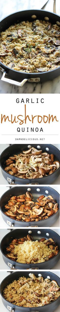 Garlic Mushroom Quinoa - An easy, healthy side dish that you'll want to make with every single meal! – More at http://www.GlobeTransformer.org