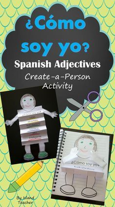 Students write descriptive adjectives on a template, cut, and assemble a ¿Cómo soy yo? person. Decorate a bulletin board or add to an interactive notebook.