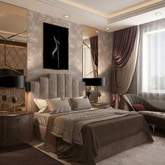 37 Wonderful Luxury Bedroom Design Ideas You Will Love - If you've ever watched Lifestyles of the Rich and Famous, you are familiar with what luxury bedroom decor is. It is defined by it's beauty, material, . Luxury Bedroom Design, Bedroom Bed Design, Bedroom Colors, Home Decor Bedroom, Interior Design, Diy Bedroom, Bedroom Rustic, Bedroom Ideas, Bedroom Curtains