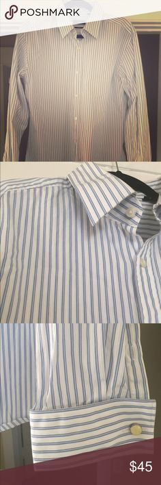 Men's Hugo Boss Slim Fit Dress Shirt Like new, gently used slim fit Hugo Boss dress shirt. Blue, and pearly white stripes. No rips tears or stains! Slim Fit Dress Shirts, Shirt Dress, Hugo Boss Shirts, Women's Fashion, Fashion Design, Fashion Trends, Shirt Designs, Women Wear, Stains