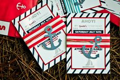 Jasmine S's Birthday / 'Ahoy Sailor' Nautical Party - Saahil turns at Catch My Party First Birthday Parties, Birthday Party Themes, First Birthdays, Birthday Ideas, Nautical Invitations, Invitation Ideas, Printable Invitations, Sailing Party, Ideas