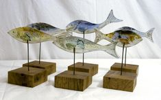 Fish (mounted) - Bobbie Coleman (Fused Glass) - £35.00 - Fish Mounted Bobbie Coleman Fused Glass - Prints & Artwork