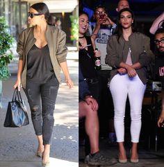Shop Kim Kardashian's military green ACNE STUDIOS bomber jacket - LaiaMagazine