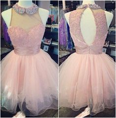 Cute Pink Homecoming Dresses,Sleeveless Homecoming Dresses,Open Back Homecoming Dresses,Organza Homecoming Dresses