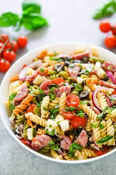 Italian Pasta Salad – Gal on a Mission Italian Pasta Salad is always a winner with rotini pasta loaded with tomatoes, fresh basil, black olives, salami, and mozzarella cheese. Always a favorite! Spinach Recipes, Rib Recipes, Pasta Salad Recipes, Lunch Recipes, Soup Recipes, Chicken Recipes, Italian Recipes, Spinach Salads, Couscous Recipes