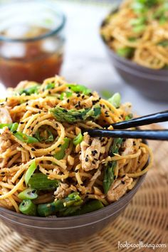 Sesame Noodles with Chicken and Asparagus - http://www.foolproofliving.com/sesame-noodles-with-chicken-and-asparagus/