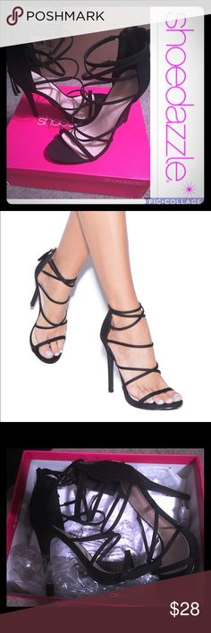 Black Strapped Stiletto Heels BRAND NEW. Never Worn. 4 inch heel. Fit True to Size.            * offers always welcome * JustFab Shoes Heels