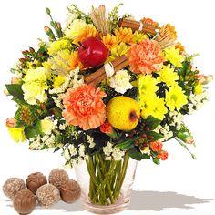 Bouquet of Flowers - Cinnamon Spiced Apple Wrap & Chocolates  www.eden4flowers.co.uk Fresh Flowers, Beautiful Flowers, Alternative Bouquet, Gifts Delivered, Flowers Delivered, Spiced Apples, Flower Fashion, Chocolates, Bouquets
