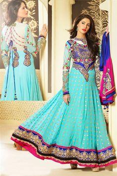 Stylish Nargis Fakri Georgette Blue Anarkali Salwar Kameez