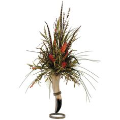 Flower arrangement using animal horn  (Lone Star Western Decor)