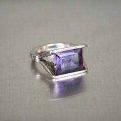 Vintage Sterling Silver 925 Synthetic Alexandrite Modernist Ring