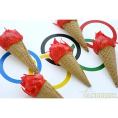 Olympic Torch Cake Pops via @candiquik  #Olympic Inspired #Party #Treats