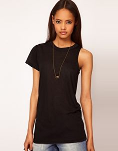 ASOS T-Shirt with Cut Away Sleeve in Slub