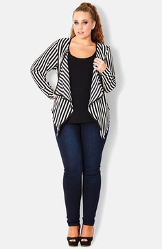 City Chic Stripe Cascade Jacket (Plus Size) available at #Nordstrom
