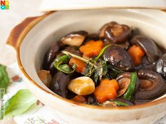 """Easy recipe for """"three cups mushrooms"""", a meatless variation of the popular Taiwanese """"three cups chicken"""" recipe."""