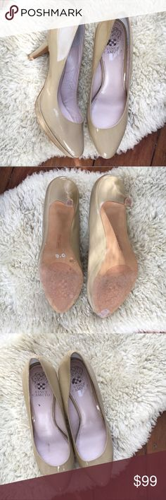 "Vince Camuto Nude Patent Leather Pumps 7 Almost new! Only worn a time or two, no damage. Classic, versatile and sexy Heels! 3.5"" heel, genuine leather upper and man made sole. Bundle and save! Offers warmly welcomed. Vince Camuto Shoes Heels"