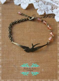 Bird Bracelet Flying Swallow Bracelet by nathalielynndesigns, $16.99