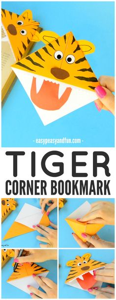 Tiger Corner Bookmarks! Easy beginner origami- great for a zoo unit! Great way to encourage reading!