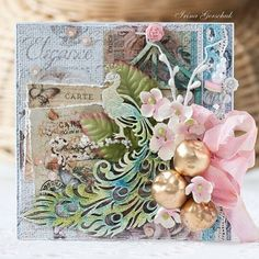 Our amazing DT member @irinagerschuk has created this stunning card using #lindystampgang #embossingpowders to color her chipboard peacock. ...