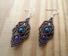 Amethyst macrame earrings, macrame jewelry, gemstone earrings, micro macrame, tribal earrings, boho jewelry, hippie earrings, macrame stone