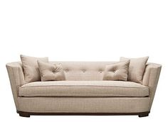 This sofa: SOPHISTICATED, not stuffy. Cafè Latte color.Textured fabric, with 2 silk accent pillows. L: 90'' x W: 37'' x H: 32'' Love it.