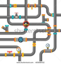 Water pipes background, vector illustration. Flat concept, vector illustration. Valve, pipe connectors, meters, pipe details vector set.