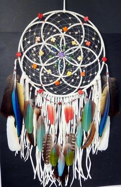 RESERVED for Authentic Native American Seed Of Life Sacred Geometry Dreamcatcher Exotic Feathers Turquoise Dreams Catcher, Los Dreamcatchers, Mundo Hippie, Native American Seed, Beautiful Dream Catchers, Dream Catcher Mobile, Diy And Crafts, Arts And Crafts, Seed Of Life