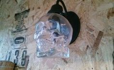 skull vodka bottle made into lamp, lighting, repurposing upcycling