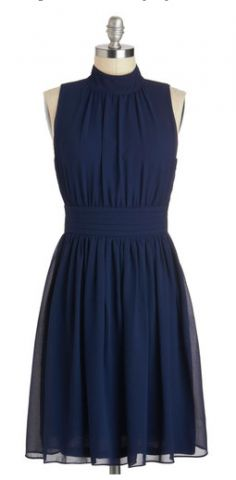 High neck, navy dress.  https://www.thebridelink.com/vendor/mod-cloth/photos