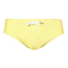 Parke & Ronen Meridian Yellow Labyrinth Print Men's Swim Brief
