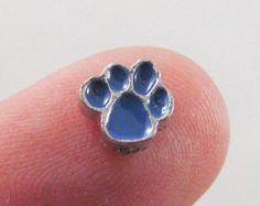 ON SALE Dark Blue Dog Cat Paw Floating Charm Memory Locket