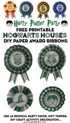 Free Printable Hogwart's Houses DIY Paper Award Ribbons to create awesome party favors or decoration for your Harry Potter Party. Gryffindor, Slytherin, Hufflepuff and Ravenclaw Houses colors included! Many ways to use them: brooch, sorting hat, DIY craft station, reward, party favor, gift topper, garland... Easy craft for kids #harrypotter #HarryPotterparty #freeprintable #hogwarts #harrypotterprintable #DIY #craft #partydecor #kidscraft #lovelyplanner
