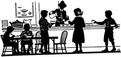 silhouette family kitchen dining
