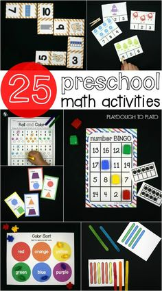 Awesome Preschool Math Activities! Shape games, number bingo, clip cards, patterns... lots of ideas in one spot!