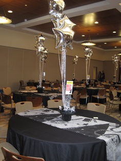 And the Broadway Bat Mitzvah ready to go - loved these centerpieces with the mylar balloons!  By BasketWorks.biz.