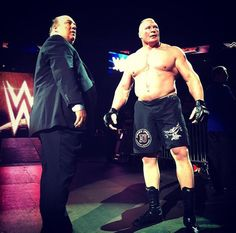Paul Heyman and Brock Lesnar Wwe Brock, Paul Heyman, Wwe 2k, Lucha Underground, Brock Lesnar, Dean Ambrose, Wwe Photos, Roman Reigns, Ufc
