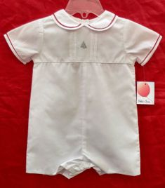 Sale Squiggles By Charlie Red White Stripe Santa Applique Boys
