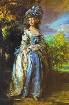 Lady Sheffield (Queen Consort of Prussia) displays luxurious British casual dress in her Gainsborough portrait. Hats would not again reach such staggering size until the early 1910s