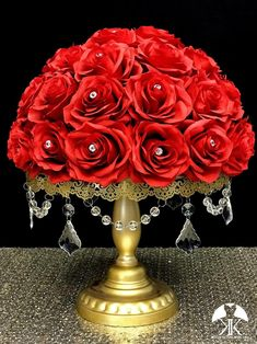 RED Rose Arrangement with PREMIUM Real Touch Silk Roses and RHINESTONE GEMS. Red Wedding Centerpiece. Red Centerpiece. Floating Pomander. PICK ROSE COLOR! 16 SIZE PICTURED With RHINESTONE GEMS IN Roses. GOLD STANDS With CRYSTALS Sold Separately.  These beautiful roses have a real feel and look to Flower Ball Centerpiece, Red Wedding Centerpieces, Crown Centerpiece, Mickey Centerpiece, Hot Pink Weddings, Orange Wedding, Lime Wedding, Ivory Wedding, Rainbow Wedding