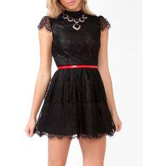 Eyelash Lace Skater Dress ($30) found on Polyvore