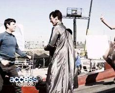 Zach and Ben on set of Star Trek into Darkness