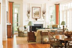 Embrace Ideas from the Past - 108 Living Room Decorating Ideas - Southernliving. Try a great idea from the past. The triple-hung windows on either side of the great room's fireplace are found in many older homes in the Deep South. When the two lower sashes are raised, the openings serve as passageways to the screened porch beyond.     Editor's Favorite Living Rooms