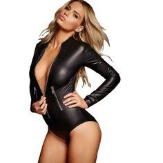 4511b9b6753 Women s Zipper Leather LaTeX bodysuit full sleeve clubwear jumpsuit overall  Rompers romper Jumpsuit 2016
