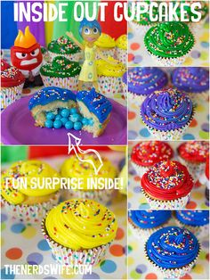 Disney Inside Out Cupcakes -- bright, colorful cupcakes inspired by the emotion characters from Inside Out with a fun candy surprise inside!